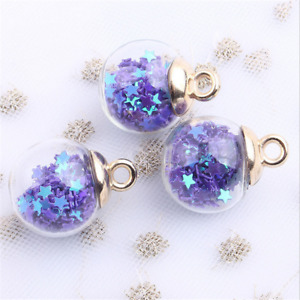 10X multicolor Sequins star Glass Ball Pendant Jewelry earring Accessorie 16MM