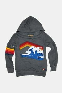 Aviator Nation Big Kids Mountain Wave Pullover Hoodie in Vintage Charcoal 14