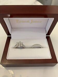 Stunning Ernest Jones Bridal Ring Set - 18K White Gold & Diamond