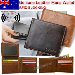 luxury Leather Mens Purse Bifold Credit Card Wallet RFID Blocking Anti Scan OZ