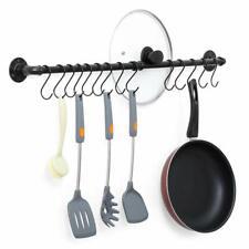 New ListingWall-Mounted Hanging Pot Rack Kitchen Pot Lid Organizer Cookware Rack 14 S Hooks