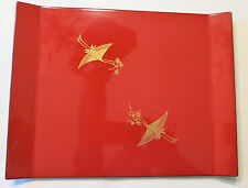 Vintage Red Laquer Tray / Plate With Cranes , Balck on bottom - Made In Japan
