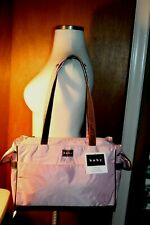 Baby Diaper Bag By Dolly Nylon  Large Capacity Zipper Pink Brown Trim NWT