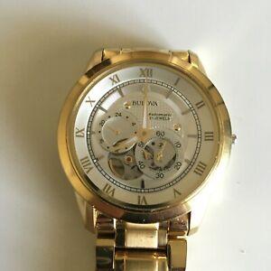 Bulova Men's 97A108 Automatic Skeleton Dial Gold Tone Watch