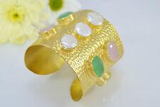 Ottoman GOLD Cuff Bracelet Bangle Semi Precious Gemstone Rose Quartz Pearl Topaz