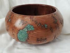 Wood Bowl Hand Turned Green Inlay Hand Made Artist Studio Collectable