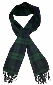 "Stewart Of Scotland Men's 100% Merino Wool Scarf Navy/Green Plaid 10""X66"""