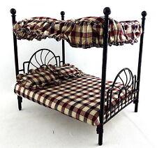 Dolls House NERO FERRO BATTUTO doppio letto a baldacchino Mobili per camera da letto in miniatura