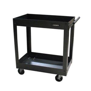 Husky Utility Cart Tubular Steel 2-Tray Push Side Handle Storage 31 in. x 16 in.