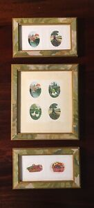 Vintage Sharon Jervis Framed Petite Watercolor Paintings, Set of Three Signed