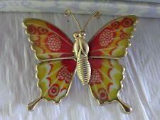 Vintage Gold Tone Enamel Butterfly Brooch Pin
