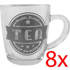 SET OF 8 TEA MUG CUP DRINKING GLASS COFFEE KITCHEN HOT DRINK HANDLE HOME GIFT