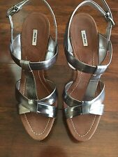 MIU MIU Silver Cork Platform Sandals Heels, 40