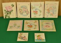 Vintage 9 Unused Baby Greeting Cards, New Baby and Baby Shower with Envelopes
