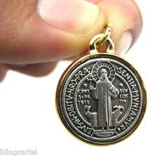 San Benito Medalla 20mm Saint Benedict Cross Silver/Gold Tone Extra Small Medal