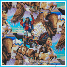 BonEful Fabric FQ Indian Native America*n Buffalo Eagle Bird Bull Horse Owl Wolf