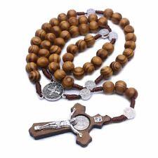 Fashion Handmade Round Beads Catholic Rosary Cross Religious Wood Beads Necklace