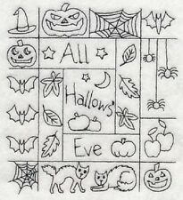 """9  x 12"""" Embroidered  Cotton Quilt Block- Pre Order - All Hallows Eve Shadow Box"""