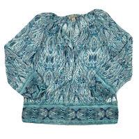 Lucky Brand Women Small Live In Love Boho Blouse Shirt Top Sheer Blue