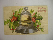 Vintage Embossed Christmas Postcard Holly & Bell With Church By Stream Unmailed