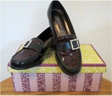 Brighton *Adele* Leopard Buckle Black Krinkle Patent Leather Size 7M MSRP $195.