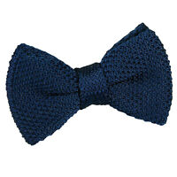 DQT Knit Knitted Plain Navy Blue Casual Adjustable Pre-Tied Boys' Bow Tie