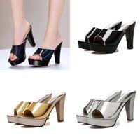 Women Mules Sandals High Heels Peep Toe Slipper Platform Synthetic Leather Shoes