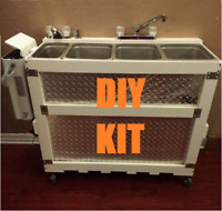 DIY Large Portable Concession Sink KIT, 3 Compartment +1 Hand Wash Propane