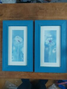 Wall Pictures, Home Art, Blue Flowers 2 Pictures