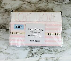 rae dunn Pink Stripe Love Full Sheet Set NWT