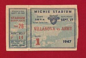 Vintage 1947 Army West Point vs Villanova Football Ticket Antique Early 1940's