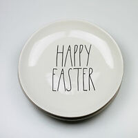 """Rae Dunn Artisan Collection Magenta Happy Easter 11"""" Dinner Plates Set of 4"""