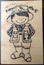 Fishing Boy Wood Mounted Rubber Stamp Great Impressions E394 Scout Kids