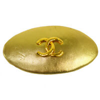 Authentic CHANEL Vintage CC Charm Hair Barrette Gold Leather Accessories NR12319