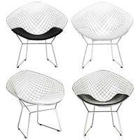 Diamond Steel Wire Silver Chrome Mesh Harry Dining Lounge Chair Black White Pad