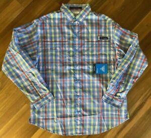Columbia PFG Super Tamiami Fishing Shirt Omni Shade M L XL XXL Sun Long Sleeve
