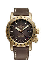 Glycine GL0166 Men's Airman 44 Bronze GMT Automatic 44mm Brown Leather Watch