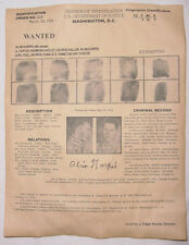 Alvin Creepy Karpis Wanted Poster, Gangster, Outlaw, Bank Robber