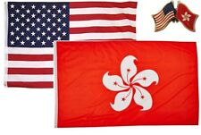 Wholesale Combo Usa & Hong Kong Country 2x3 2'x3' Flag & Friendship Lapel Pin