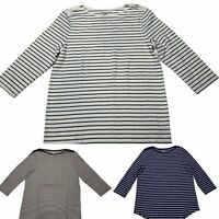 NWOT Faded Glory Women Blouse Shirt XL 16-18 Boat Neck 3/4 Sleeve Striped