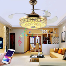"""New Listing42"""" Bluetooth Invisible Ceiling Fans Gold Crystal Chandelier with Light Speaker"""
