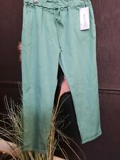 Pants women summer green size 10-14Italian.