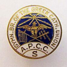 early  A.P.C.C.S. GREEK CATHOLIC UNION enamel collar lapel stud RELIGION +
