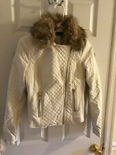Black Rivet WHITE quilted faux leather fur motorcycle jacket coat SMALL