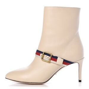 Nwt Gucci Sylvie Nappa Leather Booties Size 37 MSRP $1,250