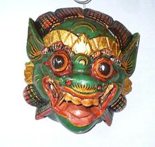 Wooden monkey mask of Barong, GREEN  color,hand-carved in Bali, wall mask, new