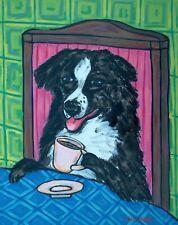Australian Shepherd dog coffee art artist print 11x17 glossy animals gift