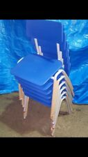 6 x Metalliform BSC Blue Stacking Classroom Chair Size 3 For Ages 6-8 Years