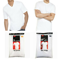 3-6 Pack For Mens 100% Cotton Crew& V-Neck Tagless T-Shirt Undershirt White S-XL