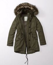NEW ABERCROMBIE & FITCH Sherpa Lined Military Parka women's jacket size S   NEW
